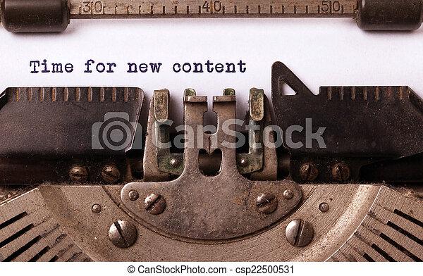 inscriptie, gemaakt, oud, typemachine, ouderwetse  - csp22500531