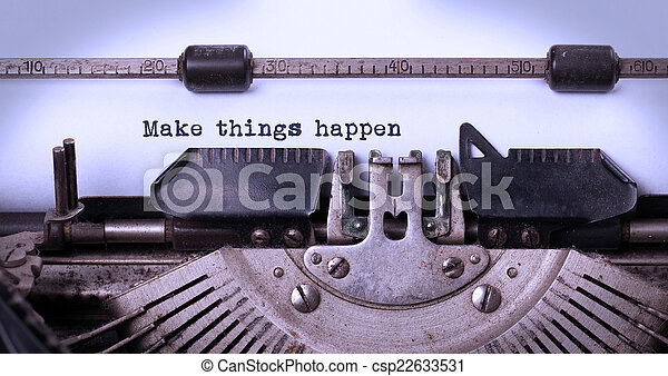 inscriptie, gemaakt, oud, typemachine, ouderwetse  - csp22633531