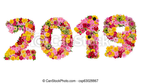 Inscription 2019 from fresh flowers isolated on white background. Happy New Year Concept. - csp63028867
