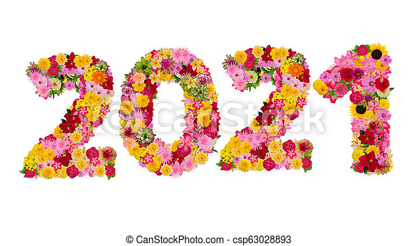 Inscription 2021 from fresh flowers isolated on white background. Happy New Year Concept. - csp63028893