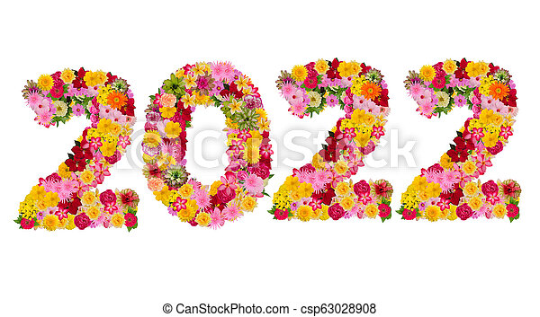 Inscription 2022 from fresh flowers isolated on white background. Happy New Year Concept. - csp63028908