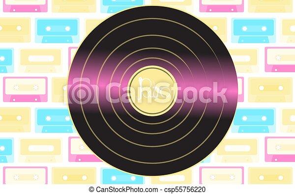 inscription, audio, vieux, contre, brillant, vendange, illustration, musical, cassettes., vecteur, hipster, retro, fond, multi-coloré, phonographe, enregistrement, analogue, vinyle - csp55756220