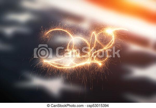 inscription, drapeau américain, 2018, toile de fond - csp53015394