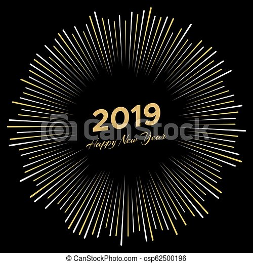 Inscription Happy New Year 2019 with firework - csp62500196