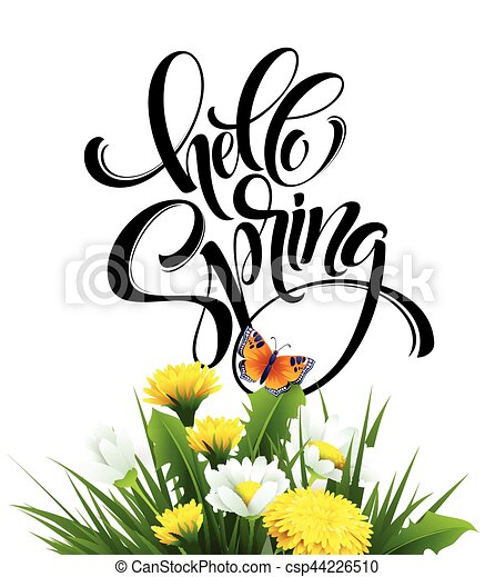 inscription hello spring hand lettering on background with flowers rh canstockphoto com vector springfield il vector springs florida