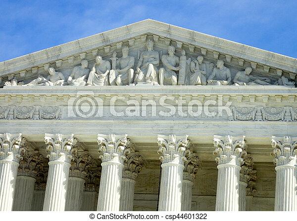 Inscription over the US Supreme Court Building in Washington DC - csp44601322