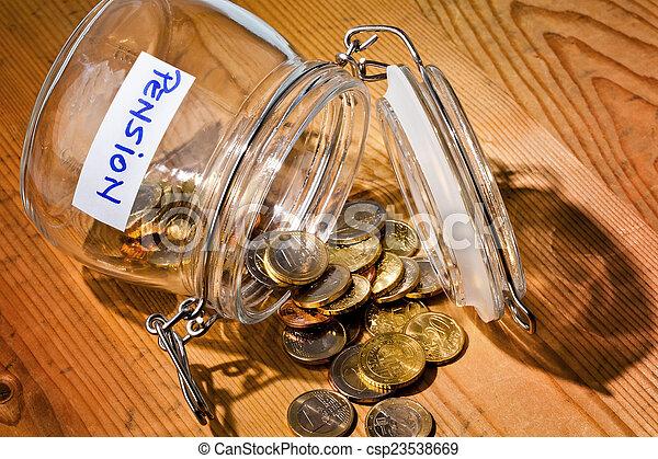 inscription, pièces., retraite, /, verre, pension - csp23538669