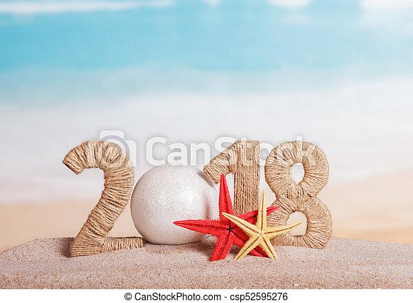 inscription, plage., etoile mer, -, nombre, nouveau, 0, sable, année, instead, boule blanche, 2018 - csp52595276