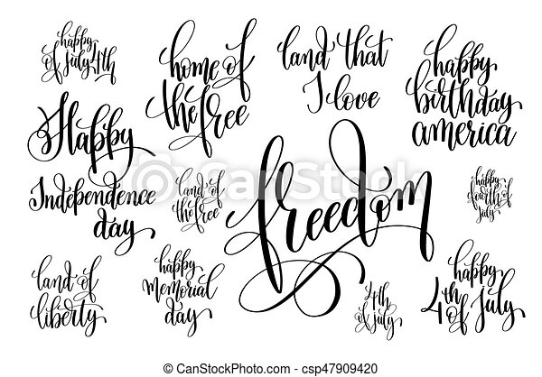 set of black and white hand lettering inscription to usa