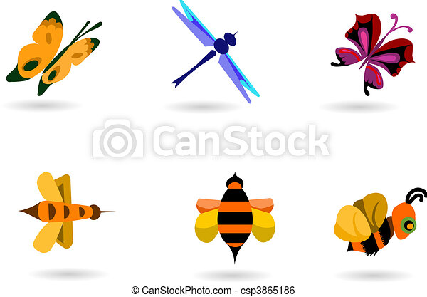 insect collection of bees, butterflies and dragonfly  - csp3865186