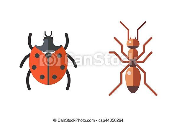 Insect ladybug and ant icon flat set isolated on white background - csp44050264