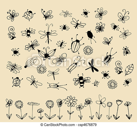 Insect sketch collection for your design - csp4676879