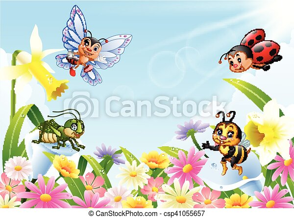 Insectes Champ Fleur Dessin Anime Fleur Insectes Illustration