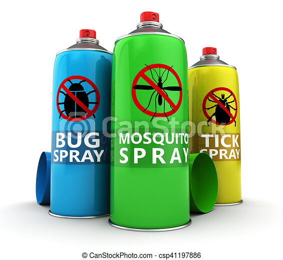 insecticide bottles 3d illustration of bug tick and mosquito spray