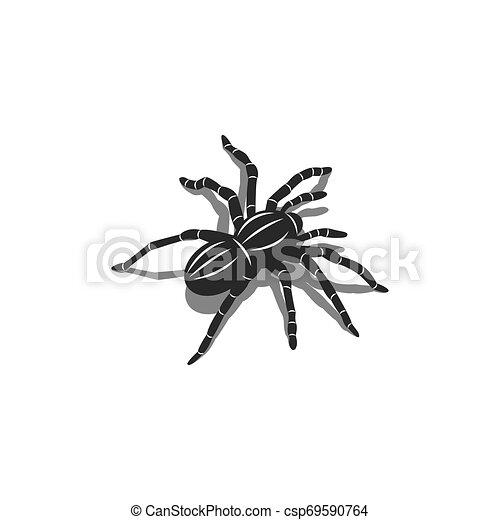 Silueta de un insecto tarántula araña en forma iométrica con sombras, diseño de tatuajes 3D - csp69590764