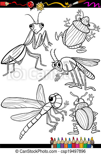 Insectos, colorido, conjunto, libro, caricatura. Colorido, insectos ...