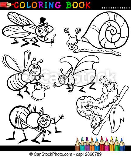 Insectos, libro, colorido, bichos. Divertido, colorido, insectos, o ...