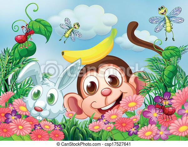 Grficos vectoriales EPS de insectos mono conejo jardn