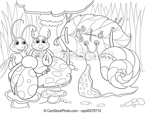 Insects learn math coloring for children cartoon vector illustration - csp45578710