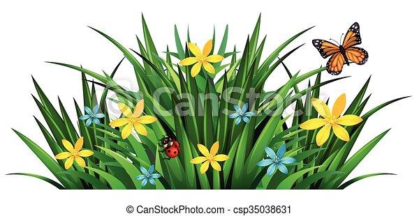 Bush mit Blumen und Insekten - csp35038631