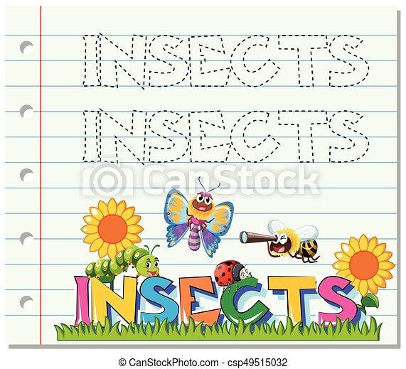 Insekten, verfolgen, wort, arbeitsblatt. Insekten, verfolgen, wort ...
