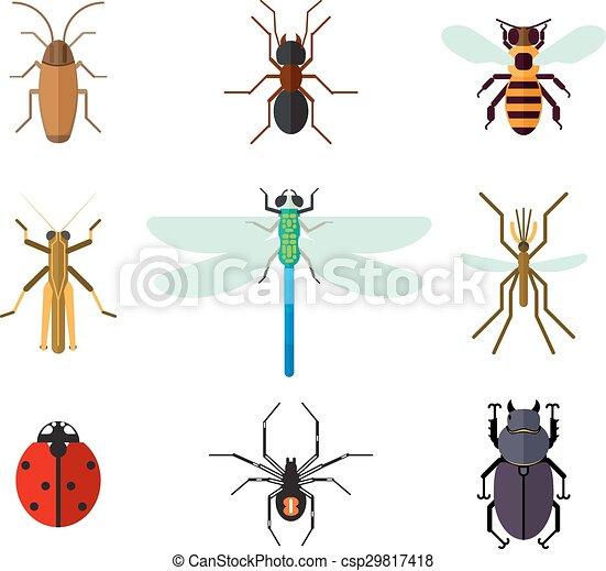 Insekten Wohnung Stil Satz Ikone Wohnung Satz Libelle