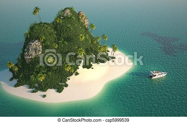 Luftblick auf die paradiesische Insel - csp5999539