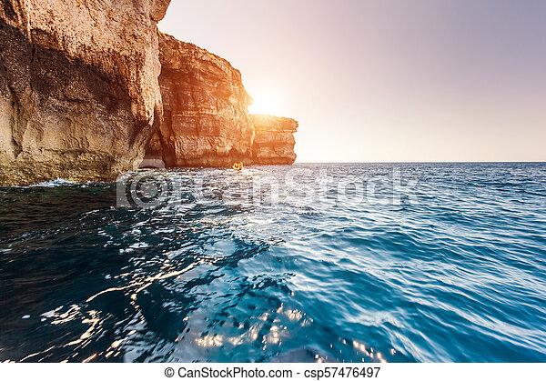 insel, malta, fenster, ort, ort, gozo, azur, dwejra., europe. - csp57476497