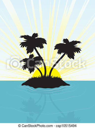 insel, silhouette - csp10515494