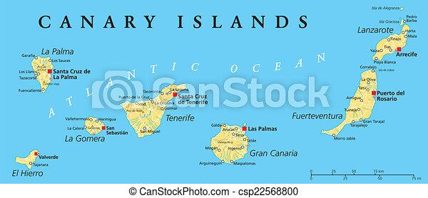 Kanarischen Inseln Politische Karte Kanarische Inseln Politische