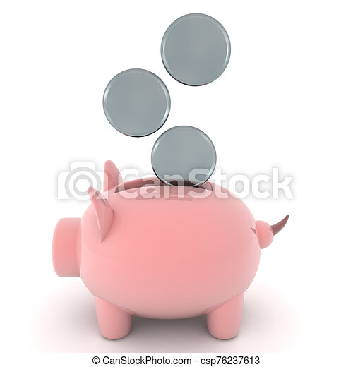 insertado, 3d, banco, coins, interpretación, ser, cerdito - csp76237613