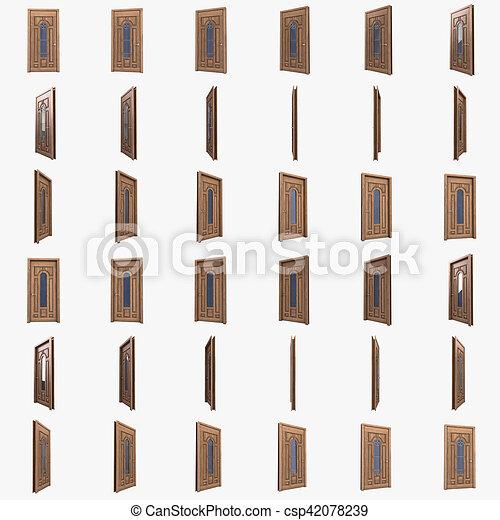 Puerta de madera con inserto de vidrio y barras de hierro.3D - csp42078239