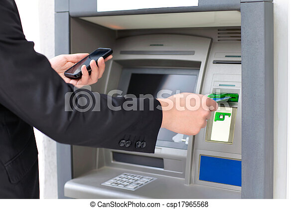 inserti, ritirarsi, telefono, soldi, atm, credito, presa a terra, uomo affari, scheda - csp17965568