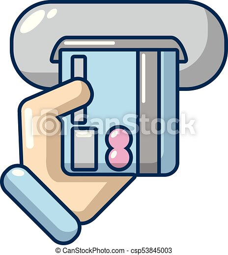 Inserting Credit Card Icon Cartoon Style Inserting Credit Card
