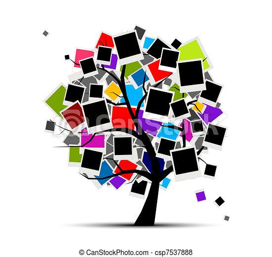 inserto, immagine, memorie, albero, tuo, cornici foto, disegno - csp7537888