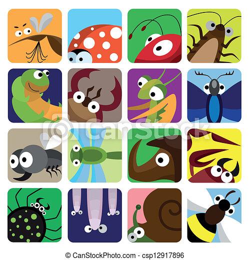inseto, jogo, ícones - csp12917896