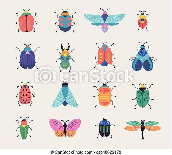 insetti, errori del software, set, farfalla, coccinella - csp48623178