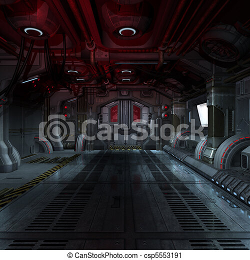 inside a futuristic scifi spaceship 3D rendering for background or composing image  - csp5553191