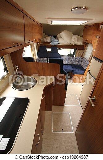 Inside A Motorhome An Interior Of Modern Camper Van