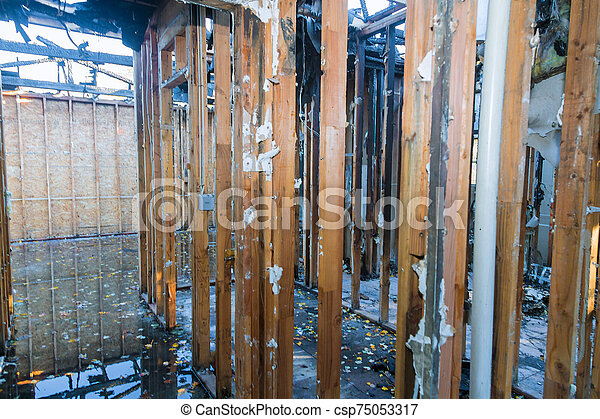 Inside detail of an home that was after a house fire. - csp75053317