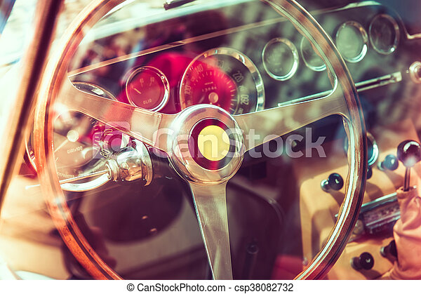 Inside of a luxury vintage car - csp38082732