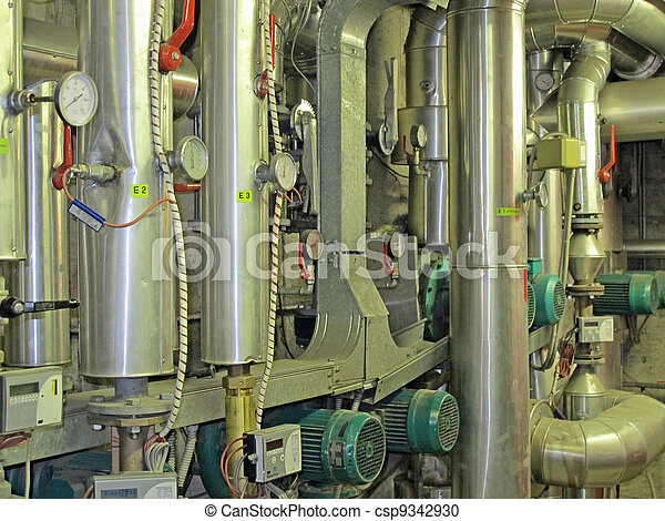 Inside of a thermal power plant boilers and pipes and boilers.