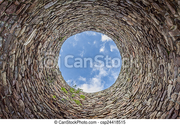inside of old industrial chimney - csp24418515