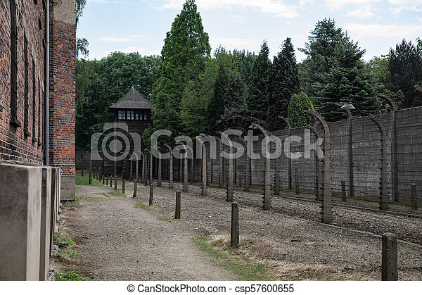 barbed wire fence concentration camp. Inside The Barbed Wire Fence At Nazi Concentration Camp Auschwitz - Csp57600655 W