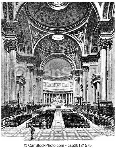 inside the church of the madeleine vintage engraving inside the church of the madeleine. Black Bedroom Furniture Sets. Home Design Ideas