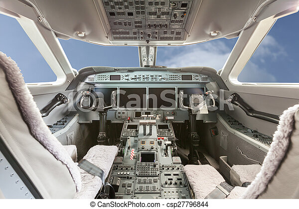 Inside view Cockpit G550 with blue sky and clouds - csp27796844
