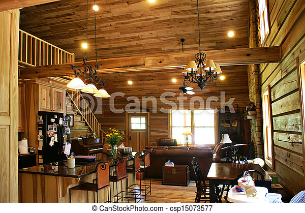 log cabin living room. Inside View Of A Modern Log Cabin Stock Photo view of a modern log cabin  Living room picture