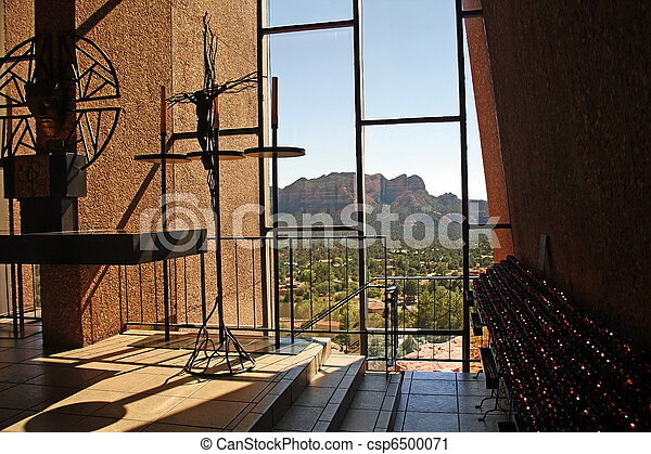 Inside View Of Chapel Of The Holy Cross In Sedona, Arizona. Designed By A  Student Of Frank Lloyd Stock Photo