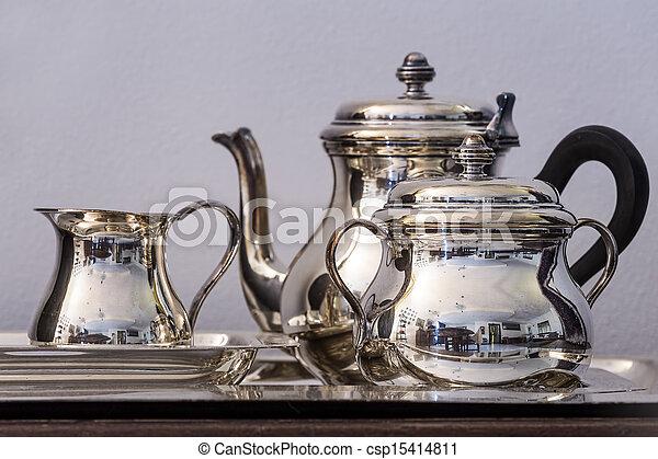 insieme tè, argento - csp15414811