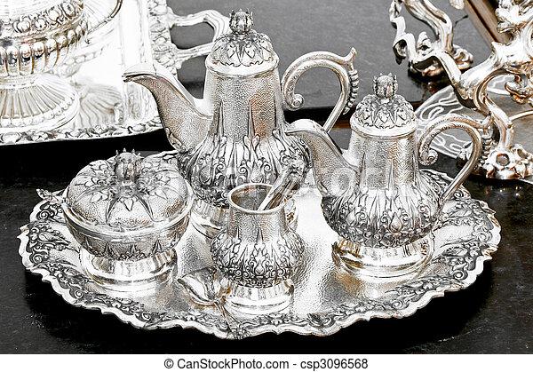insieme tè, argento - csp3096568